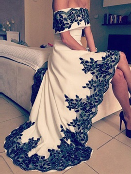 Modern Off the Shoulder Appliques High Low Prom Dress