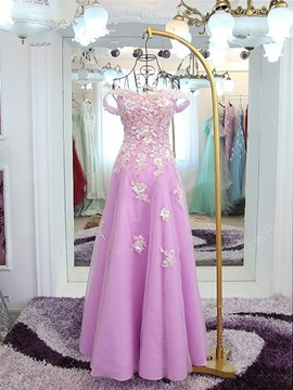 Fancy Off the Shoulder Appliques Lace-Up Prom Dress