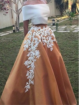 Vintage Off the Shoulder Appliques Two Piece Prom Dress