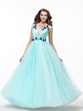 Flowers Beading Lace-up Floor-Length Quinceanera Dress & elegant Ball Gown Dresses