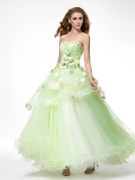 Dramatic Sweetheart Flowers Tiered Beading Floor Length Lace-up Quinceanera Dress & fashion Ball Gown Dresses
