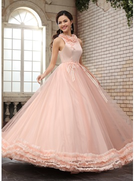 A-Line Jewel Neck Ruffles Sash Appliques Beading Floor-Length Quinceanera Dress & Ball Gown Dresses from china