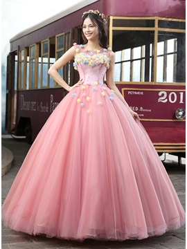 Scoop Neck Flowers A-Line Long Quinceanera Dress & Ball Gown Dresses under 100