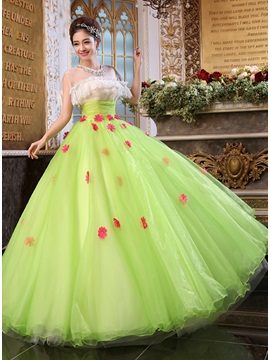 Jewel Neckline Pearls Empire Waistline A-Line Long Quinceanera Dress & fairy Ball Gown Dresses