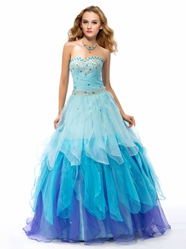 Beaded Sweetheart Tiered Organza Lace-up Long Quinceanera Dress & Ball Gown Dresses under 500