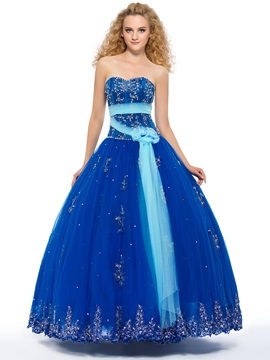 Admirable Sweetheart Beaded Appliques Lace-up Quinceanera Dress & Ball Gown Dresses from china