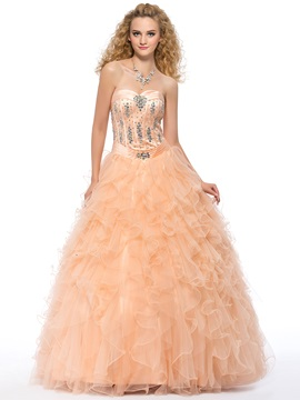 Eye-catching Sweetheart Beading Cascading Ruffles Lace-up Long Quinceanera Dress & Ball Gown Dresses 2012