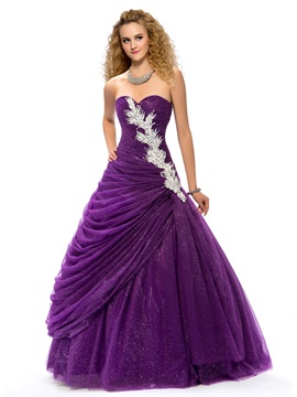 Dramatic Sweetheart Ball Gown Appliques Beading Draped Lace-up Quinceanera Dress & Ball Gown Dresses under 100