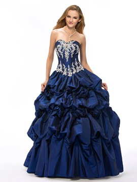 Vintage Sweetheart Appliques Pick-ups Flowers Beading Lace-up Ball Gown/Quinceanera Dress & Ball Gown Dresses for less