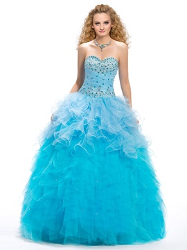 Great Sweetheart Beading Cascading Ruffles Lace-up Floor Length Quinceanera Dress & Ball Gown Dresses on sale