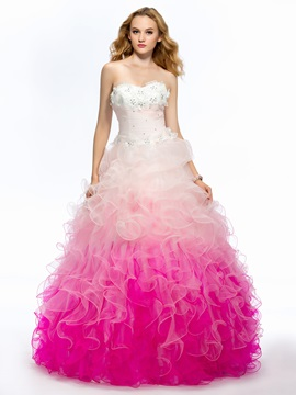 Fine Sweetheart Strapless Beading Ruffles Flowers Long Quinceanera Dress & inexpensive Ball Gown Dresses