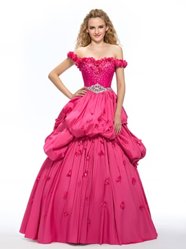 Elegant Off-the-Shoulder Lace Beading Flowers Ball Gown/Quinceanera Dress & Ball Gown Dresses from china