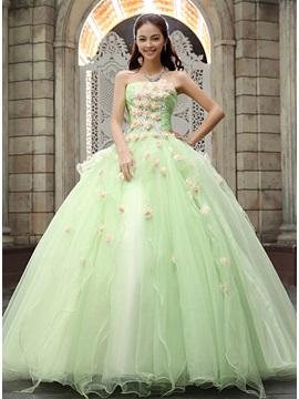 Fine Strapless A-Line Flowers Beading Lace-up Floor-Length Quinceanera Dress & unusual Ball Gown Dresses