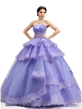 Strapless Tiered Appliques A-Line Lace-up Long Quniceanera Dress & Ball Gown Dresses on sale