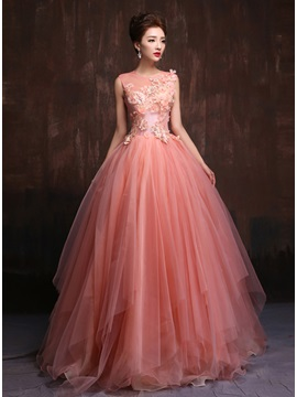 Tidebuy Trendy Tulle Neck Appliques Pearls A-Line Quinceanera Dress & Ball Gown Dresses under 500