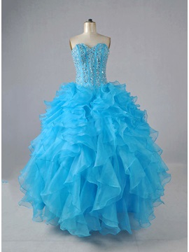 Tidebuy Sweetheart Ruffles Beading Lace-up Ball Gown Quinceanera Dress & Ball Gown Dresses under 500
