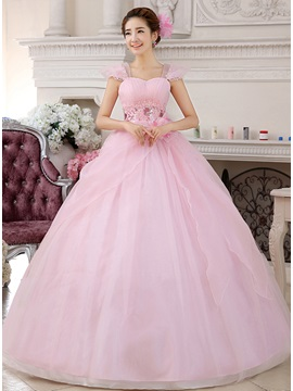 Dramatic Straps Flowers Appliques Beading Zipper-up Ball Gown Quinceanera Dress & fairy Ball Gown Dresses