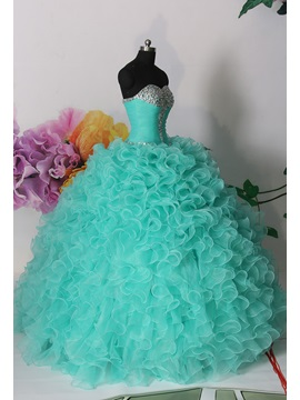 Dramatic Ball Gown Sweetheart Cascading Ruffles Beading Lace-up Quinceanera Dress & unusual Ball Gown Dresses