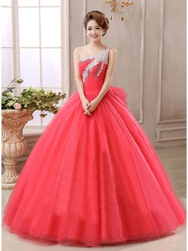 One-Shoulder Ball Gown Crystal Beading Lace-up Quinceanera Dress & Ball Gown Dresses under 500