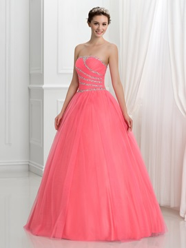 Strapless Sequins Beading Lace-Up Tulle Quinceanera Dress & quality Ball Gown Dresses
