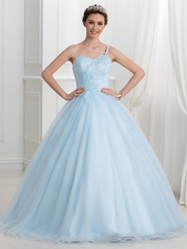 Fancy One Shoulder Appliques Beading Ball Gown Quinceanera Dress & Ball Gown Dresses under 500