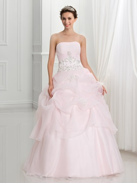 Strapless Pick-ups Appliques Sequins Ball Gown Quinceanera Dress & discount Ball Gown Dresses