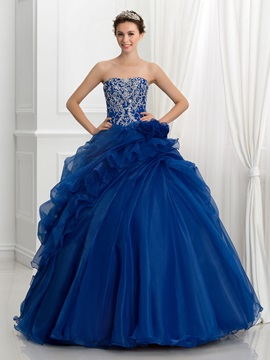 Vintage Strapless Embroidery Sequins Pick-Ups Ball Gown Quinceanera Dress & elegant Ball Gown Dresses