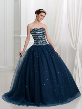 Luxurious Sweetheart Crystal Sequins Tulle Ball Gown Quinceanera Dress & cheap Ball Gown Dresses