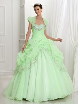 Glamorous Sweetheart Embroidery Beading Ball Gown Quinceanera Dress With Jacket/Shawl & Ball Gown Dresses under 300