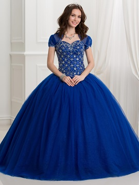 Dramatic Sweetheart Beading Lace-Up Ball Gown Quinceanera Dress With Jacket/Shawl & fairytale Ball Gown Dresses