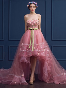 Dramatic Strapless Flowers Sequins Asymmetrical Quinceanera Dress & Ball Gown Dresses online