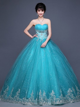 Vintage Sweetheart Appliques Beaded Lace-Up Ball Gown Dress & fairytale Ball Gown Dresses