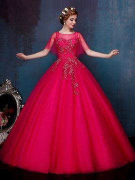 Amazing Scoop Neck Cap Sleeves Beading Ball Gown Quinceanera Dress & Ball Gown Dresses online