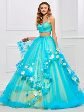 Pretty Spaghetti Straps Pleats Floor-Length Quinceanera Dress & inexpensive Ball Gown Dresses