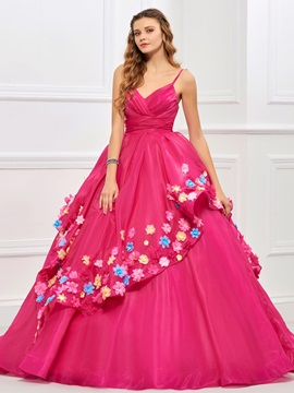 Sweet Ball Gown Spaghetti Straps Pleats Flowers Quinceanera Dress & attractive Ball Gown Dresses