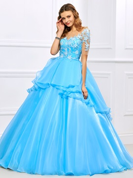 Exquisite Jewel Ball Gown Short Sleeves Appliques Floor-Length Quinceanera Dress & Ball Gown Dresses under 300