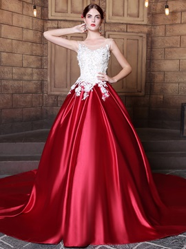 Charming Scoop Ball Gown Appliques Sequins Court Train Quinceanera Dress