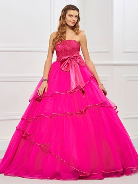 Charming Strapless Ball Gown Bowknot Ruffles Floor-Length Quinceanera Dress & Ball Gown Dresses on sale