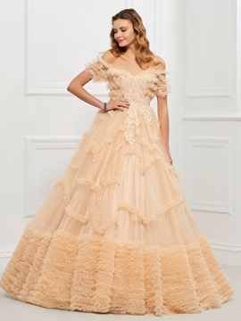 Nice Off-the-Shoulder Ball Gown Appliques Tiered Floor-Length Quinceanera Dress & Ball Gown Dresses for less