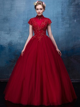 Vintage High Neck Appliques Beading Sequins Floor-Length Quinceanera Dress & Ball Gown Dresses on sale