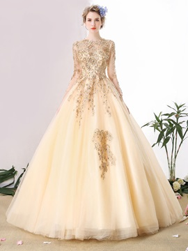 Gorgeous Jewel Ball Gown Long Sleeves Lace Pearls Floor-Length Quinceanera Dress & Ball Gown Dresses for sale
