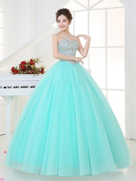 Noble Sweetheart Ball Gown Beaded Sequins Floor-Length Quinceanera Dress & Ball Gown Dresses for sale