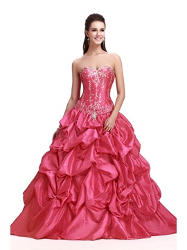 Glamorous Sweetheart Embroidery Floor-Length Pick-ups Long Sandra's Quinceanera Dress & unusual Ball Gown Dresses