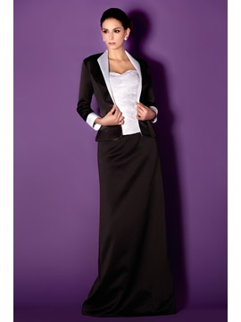 Beaded Bodice with Column Shape Floor-length Taline's Mother of The Bride Dress MT-0003 with Jacket With Jacket/Shawl