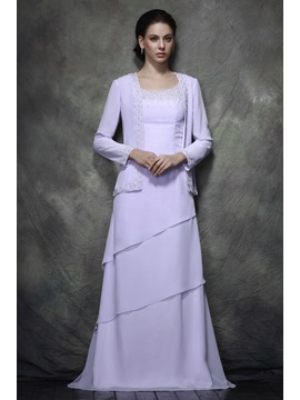 Teried A-line Scoop Beads Floor-length Polina's Mother of the Bride Dress With Jacket/Shawl