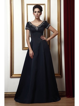Graceful A-Line Short-Sleeves V-neck Long Taline's Mother of the Bride Dress