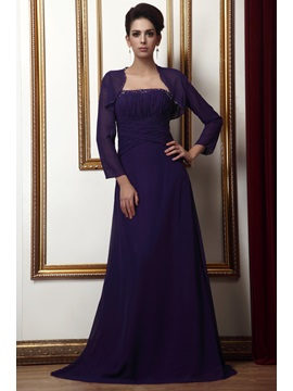 Royal A-Line Floor-Length Strapless Pleats Taline's Mother of The Bride Dress With Jacket/Shawl