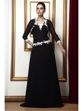 Sleeveless Straps A-line Floor-Length Appliques Taline's Mother Of The Bride Dress With Jacket/Shawl