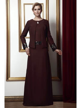 Style Sheath Round Neckline Floor-Length Alina's Mother of the Bride Dress With Jacket/Shawl
