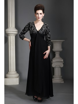 Charming A-line V-Neckline 3/4-Sleeves Ankle-Length Alex's Mother of the Bride Dress